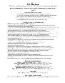 warehouse manager resume templates warehouse resume exles
