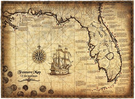 texas treasure maps treasure map of the southeast limited edition 16 quot x 22 quot treasure map shipwrecks shipwreck map