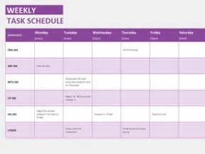 Microsoft Office Weekly Schedule Template by Weekly Task Schedule Templates Office