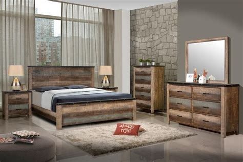 pc sembene multi colored solid wood queen bedroom set  savvy discount furniture