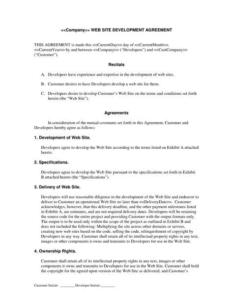 development agreement template web development contract developer centered web