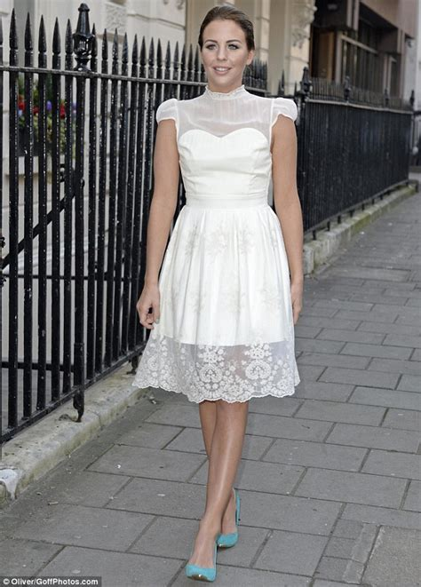 St Channel Lace Cc towie s lydia bright wears satin and lace white dress to launch new fashion line daily