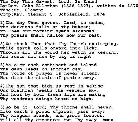 lyrics day is methodist hymn the day thou gavest lord is ended