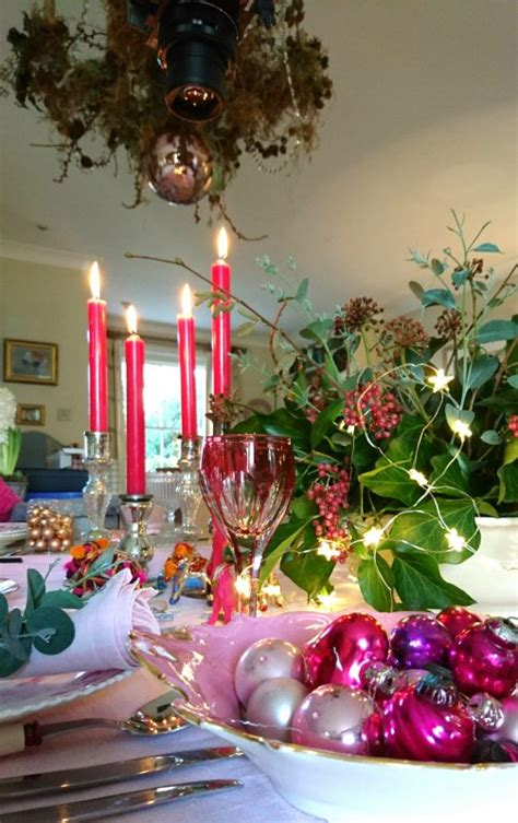 how to revive your christmas table decorations with pink