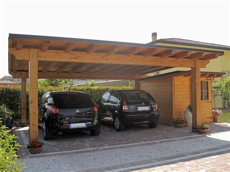 box per auto in legno car port in legno e casetta monofalda semi integrata cb02210
