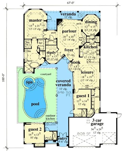 floor plans with courtyard house plans and design house plans with pool courtyard