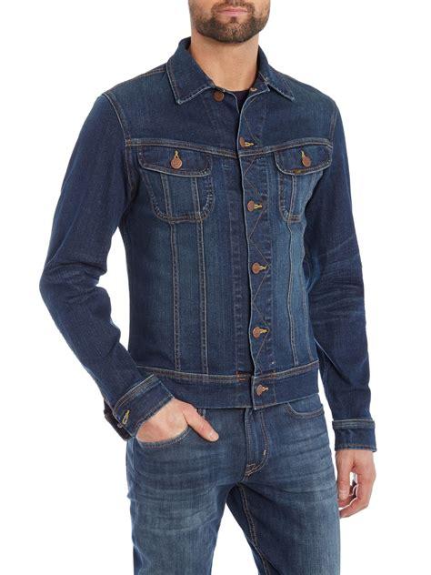 Jeand Washed Vest Fit L regular fit wash denim rider jacket in blue for lyst