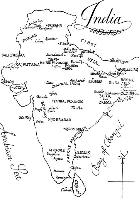 simple map of ancient india sketch coloring page