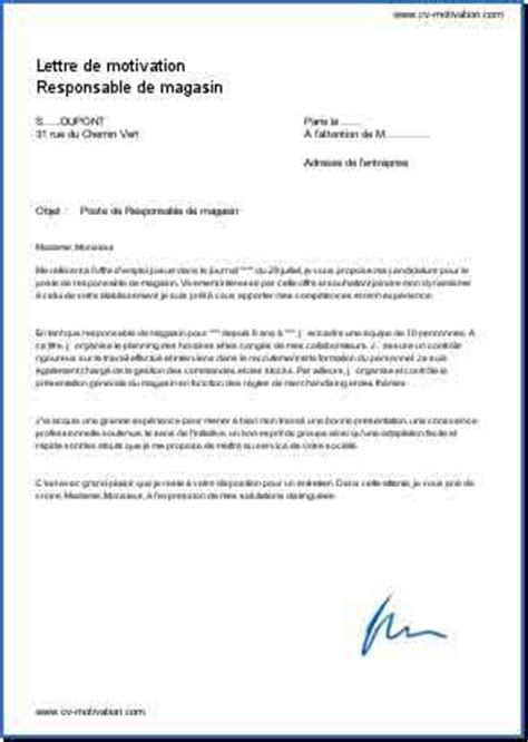 Exemple De Lettre De Motivation Responsable Commercial Mod 232 Le Et Exemple De Lettre De Motivation Responsable De Magasin