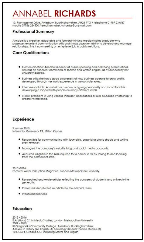 Cv Exle For University Students Myperfectcv Curriculum Vitae Template Student
