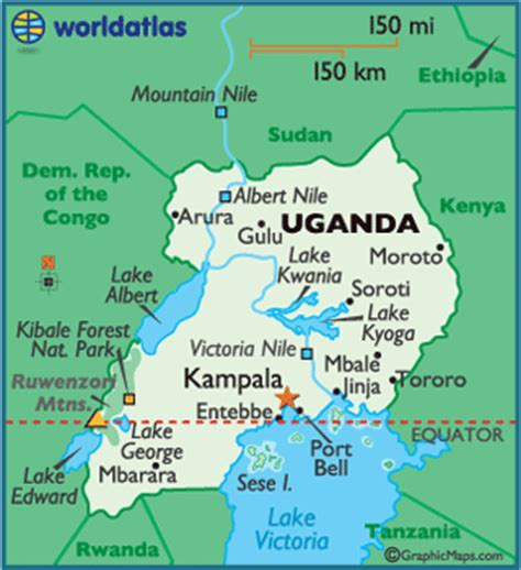 where is uganda on the world map uganda map