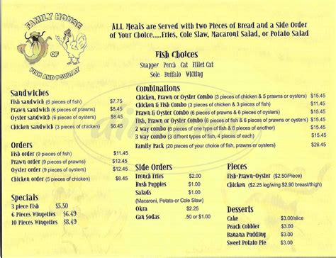 family house menu family house of fish poultry menu hayward dineries