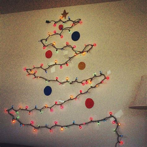 christmas tree made of lights on wall home design