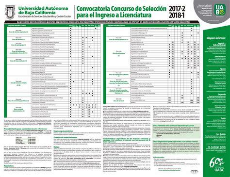 convocatoria ingreso por equivalencia artes uabc convocatoria para ingreso a licenciatura 2017 2 2018 1