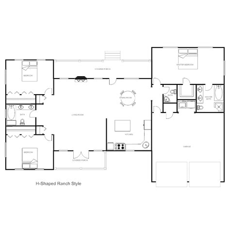 h shaped house floor plans house plan h ranch