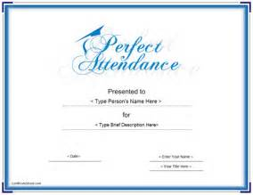 Education certificates perfect attendance award certificate