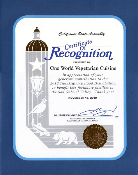 sample certificate of recognition wording new magnificent service
