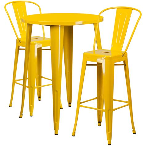 Yellow Bistro Table And Chairs 30 Yellow Metal Indoor Outdoor Bar Table Set With 2 Cafe Stools Ch 51090bh 2 30cafe Yl