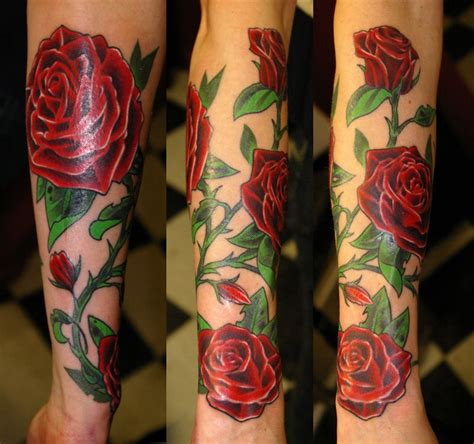 rose bush sleeve tattoo bush