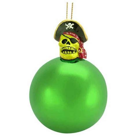 buy pirate skull top green ball christmas tree ornament