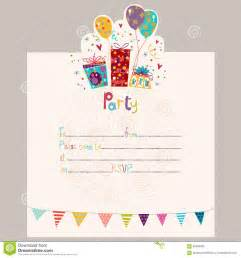 happy birthday invitation birthday greeting card with gifts and balloons stock vector image