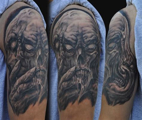 good half sleeve tattoo designs see no evil hear no evil speak no evil skull designs