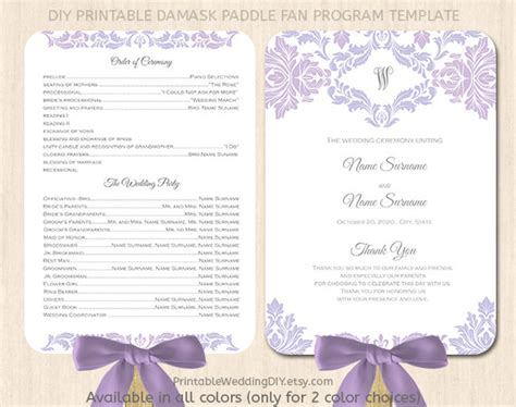 paddle fan wedding program template lavender lilac paddle fan program template by