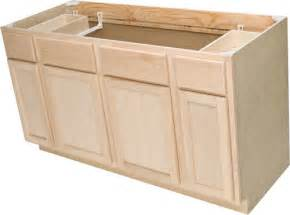Unfinished oak sink base cabinet with 2 active drawers at menards
