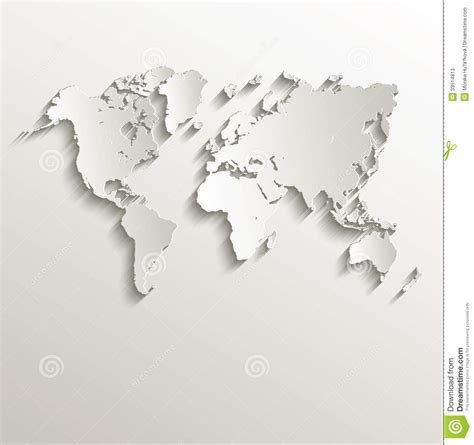 3d paper card template vector world map card paper 3d nature stock vector