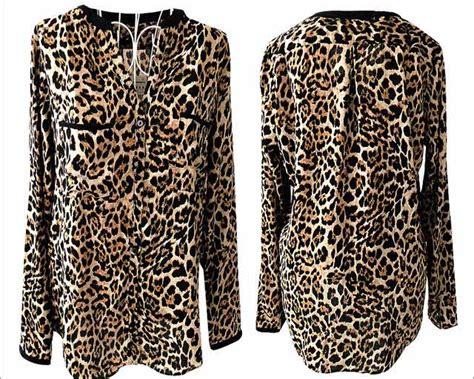 Baju Import V Neck kemeja motif leopard v neck terbaru model terbaru jual