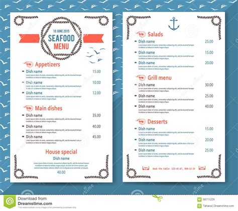 and simple seafood restaurant or cafe menu stock