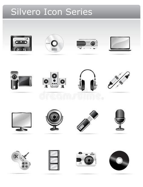 Multimedia Series silvero icon series multimedia and electronic stock vector illustration of digital computer