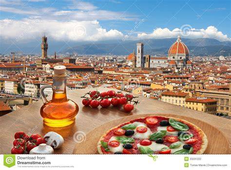 in italian florence cathedral with pizza in italy stock photo image