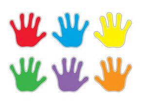 Handprints accent cards decorate your classroom