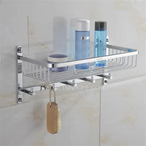 Brass Bathroom Shelves Brass Bathroom Hanging Shelf With Five Hooks Chrome Finish