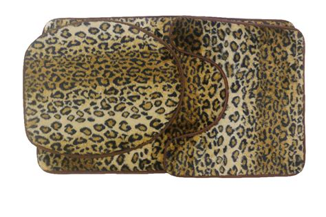 Leopard Print Toilet Cover Set 3 Pc Bathroom Mat Rug Lid Leopard Print Bathroom Rugs