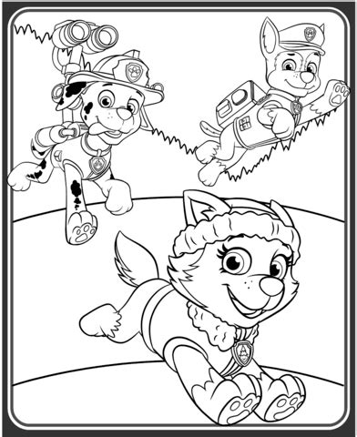 coloring page paw patrol everest everest marshall and chase coloring page free printable