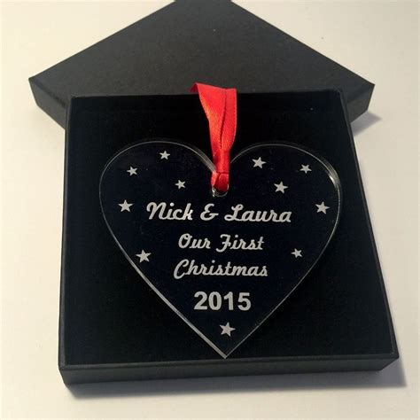 personalised first christmas together heart xmas tree