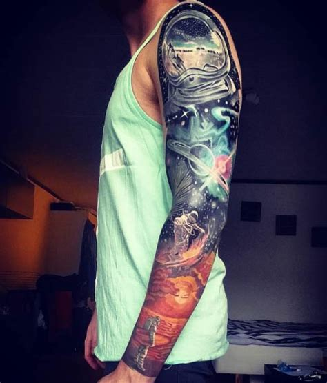 space themed tattoo 36 sleeve tattoos for guys with style tattooblend