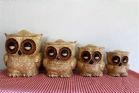owl kitchen kanister vintage 1970s ceramic owl canister set by