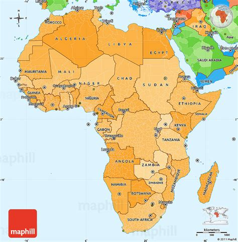 political map of africa and asia africa map