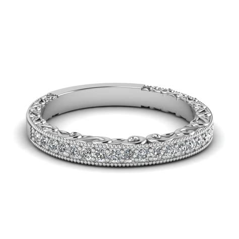 Wedding Bands White Gold by Milgrain Engraved Wedding Band In 14k White