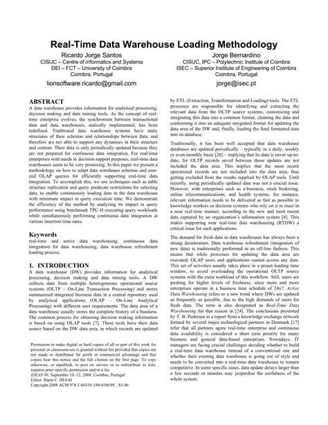 data warehouse research paper pdf real time data warehouse loading methodology pdf
