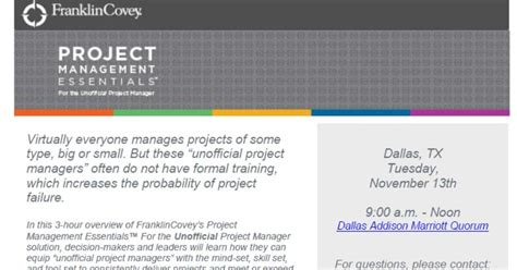 Franklincovey Texas And Oklahoma Introducing Project Management Essentials Franklin Covey Project Management Template