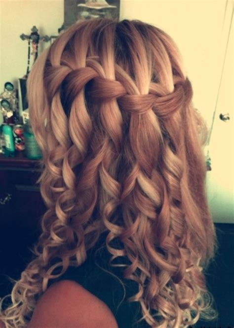 wavy braids hairstyle curly waterfall braid formal ringlets braid long style