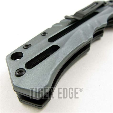 modern knife mtech futuristic grey black assist folding knife