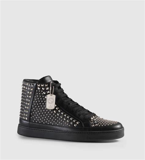 gucci leather high top sneaker black gucci studded leather high top sneaker in black for lyst