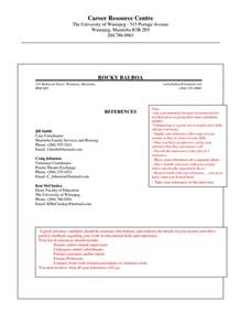 reference list template sle reference list template for resume