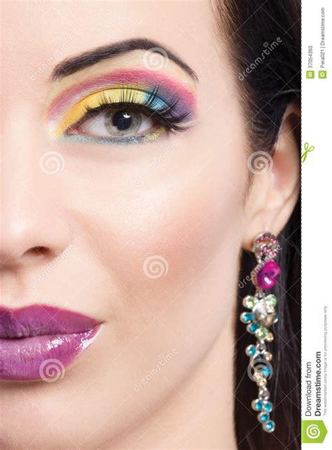 make beautiful beautiful brunette model portrait purple make up stock