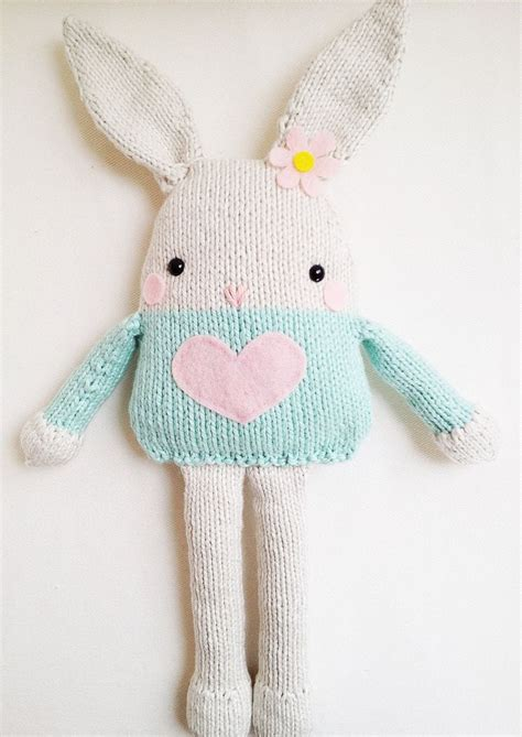 knitted rabbit bunny knitting pattern easter bunny softie pattern pdf